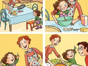 family in the kitchen - the mother prepares dishes with the daughter
