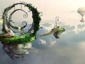 Paisaje de fantasía - Paisaje de fantasía sobre las nubes