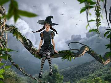 Fantasy landscape - Fantasy landscape with a little fairy