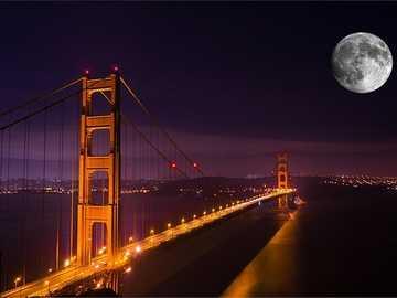 Most złotej bramy - Most Golden Gate w nocy