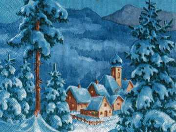 ZIMOWY WIDOK - domy,światła,śnieg,woda,