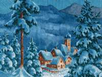WINTER VIEW - houses, lights, snow, water,