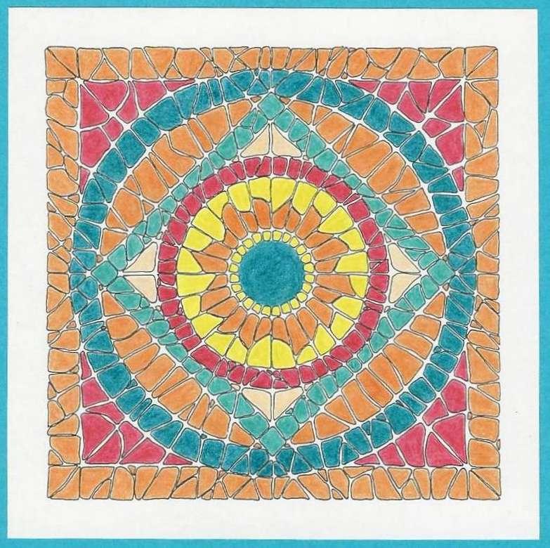 Mosaïque de mandala - Mosaïque de mandala encadrée (9×9)