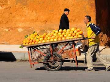 Transporting oranges. - man pushing cart with oranges on top. Casablanca, Marruecos