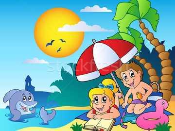 Sommersaison - Kombiniere die Puzzleteile, um das Bild zu erstellen.