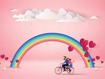 BILD MIT REGENBOGEN. - Paar auf einem Fahrrad mit Regenbogen / Valentinstag / Postkarten / Postallove.pl ...