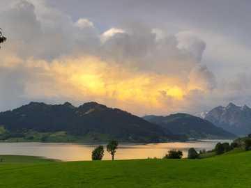 Vista del cantón de Schwyz Sihlsee - Vista del cantón de Schwyz Sihlsee
