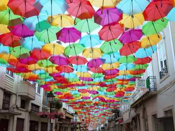 Aguera Portugal umbrellas in summer - Aguera Portugal umbrellas in summer