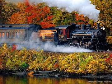 Steam train - Train in autumn landscape