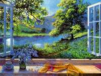 Landscape outside the window. - Window view. Landscape puzzle. Beautiful landscape visible from the window.