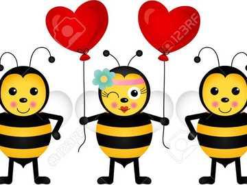 Albinutele vesele - In aceasta imagine sunt reprezentate trei albinute.