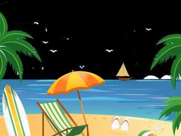 Sommer auf See - Das Bild zeigt den Strand und die notwendigen Objekte.