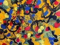 geel blauw en rood abstract schilderij