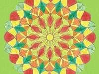 Mandala żółty pomarańczowy czerwony zielony