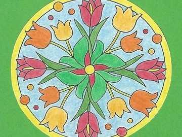 Mandala tulipes jaune orange rouge - Mandala tulipes jaune orange rouge
