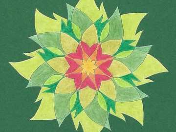 Fleur étoile de mandala - Mandala étoile fleur jaune orange rouge vert