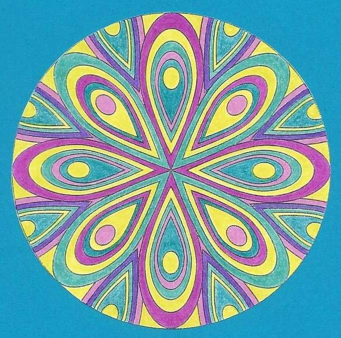 Mandala colorful rosette (9×9)