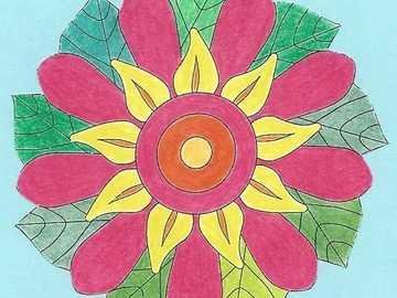 Mandala fleur jaune orange rouge - Mandala fleur jaune orange rouge