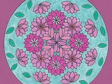 Mandala lily pond purple green - Mandala lily pond purple green