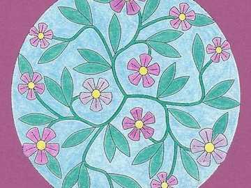 Champ de fleurs violet vert bleu - Champ de fleurs violet vert bleu