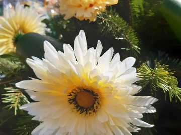 flowers in a wreath - artificial or real flowers in a wreath