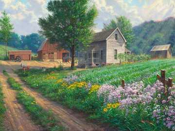 Painting. - Art. Painting. Village.
