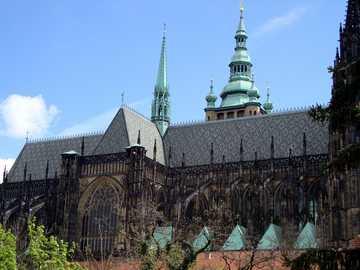 Prague, République Tchèque - St. Witta - vue depuis les jardins royaux.