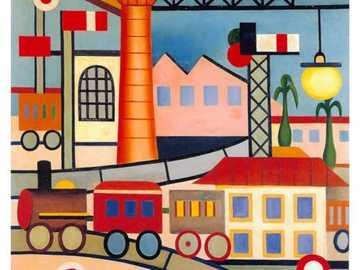 A Gare Tarsila do Amaral, 1925 - Esta obra é legitulada A GARE. A palavra francesa GARE significa estação de trem ou de metrô. Co