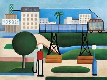 São paulo Tarsila do Amaral - Artysta usa estilo Cubista i retrata uma cidade.
