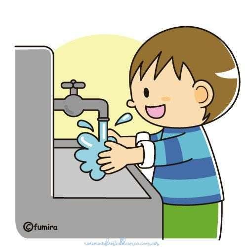 Jongen die zijn handen wast 4 - Jongen zijn handen wassen. Kind handen wassen voor de eerste (2×2)