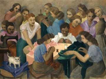 Als Costureiras Tarsila do Amaral, 1936 - Tarsila também pintou cenas do cotidiano, da vida do povo brasileiros