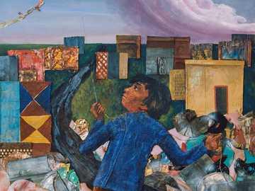 Juanito entfernt einen Drachen - Die Arbeit von Antonio Berni Juaniton zeichnet einen Drachen nach