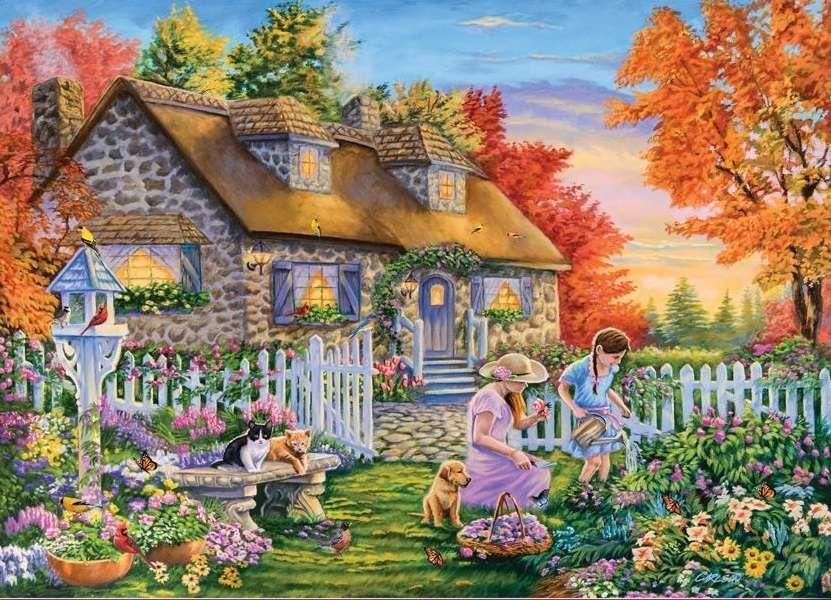 En el jardín del patio trasero. - flores en el jardín de la casa.