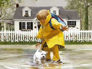 A boy with a dog. - A puzzle for children ....