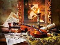 Ainda vida. - Ainda vida com um violino.