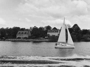 Boat on the archipelago - grayscale photo of sailboat on sea. Stockholm, Sweden