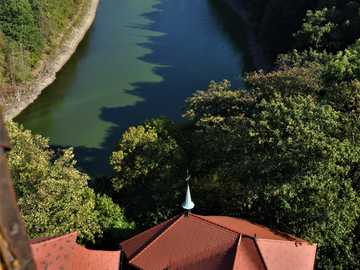 Château Czocha - Vue depuis la fenêtre de l'hôtel au château de Czocha