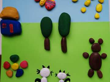 pebble works - works made by children on the theme of CREEM