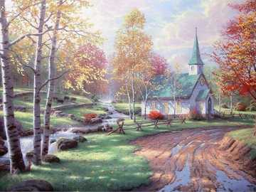 Church. - Puzzle: painted church.
