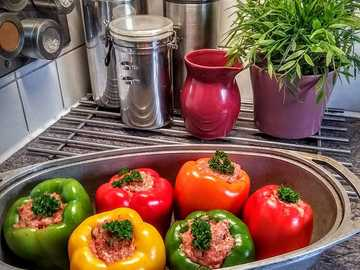 Baked pepper - Peppers baked in a bowl
