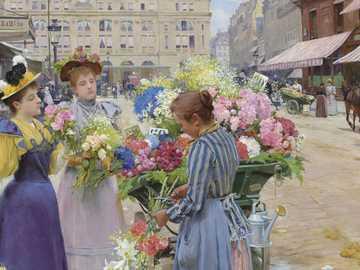 Marchand de fleurs - Obraz Louisa de Schryvera