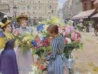 Marchand de Fleurs - Pintura de Louis de Schryver