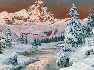 Chaîne de montagnes dans la lumière du soir - Peinture d'Alois Arnegger