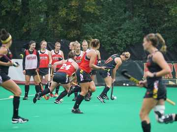 Terps Field Hockey - women playing field hockey. Field Hockey and Lacrosse Complex, College Park, United States