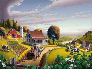 On a farm. - Landscape puzzle.