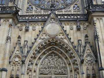 Prague - Czech Republic - The main entrance to the Cathedral of St. Witta in Prague.