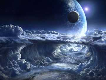 Planetas y nubes - Planetas y nubes en el espacio.