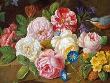 naturaleza muerta con rosas - Obra de Josef Holstayn