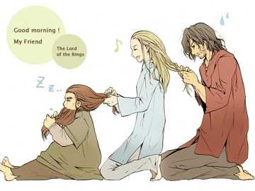Legolas, Aragorn and Gimly in the morning - It is a very cute drawing