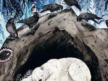 hibernujący niedźwiedź bernardowy - niedźwiedź zimujący z wronami